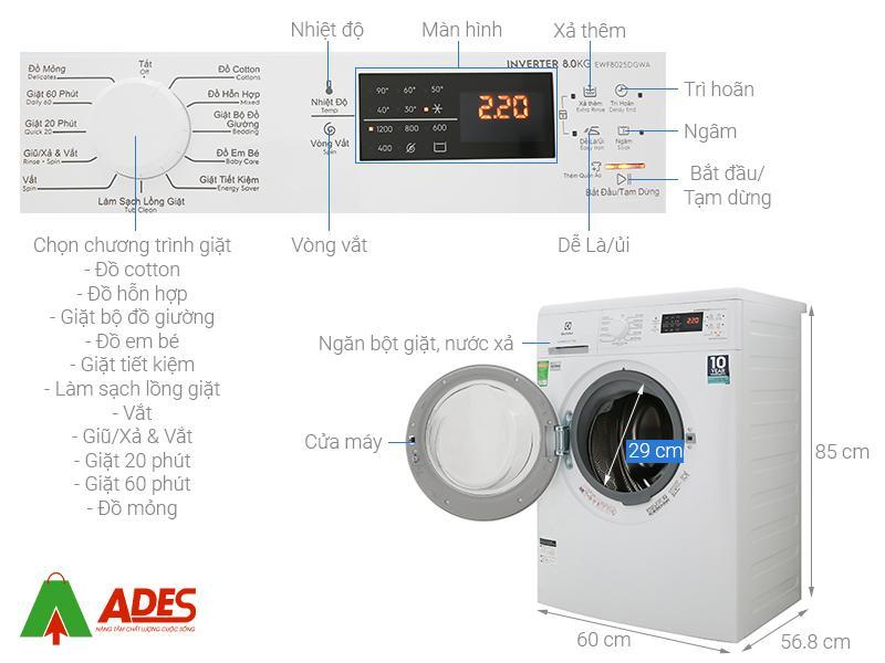 Cau tao may giat Electrolux Inverter 8Kg EWF8025DGWA
